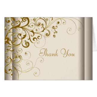 La marfil y el oro elegantes le agradecen las tarjeta pequeña