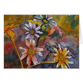 la margarita abstracta florece arte de la pintura felicitación