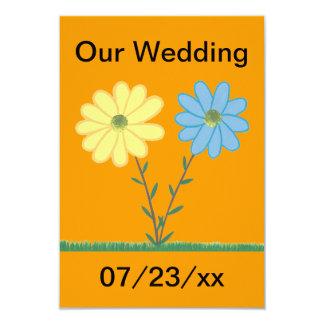 """La margarita amarilla y azul florece invitaciones invitación 3.5"""" x 5"""""""