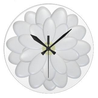la margarita blanca 3D florece el reloj de pared