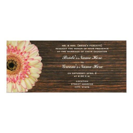 """La margarita del Gerbera y el boda de Barnwood Invitación 4"""" X 9.25"""""""