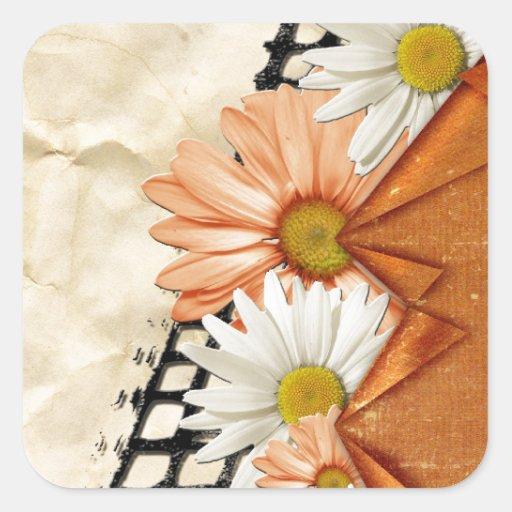 La margarita floral florece los jardines del calcomania cuadradas
