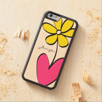 La margarita moderna personalizó la caja de madera funda de iPhone 6 bumper arce