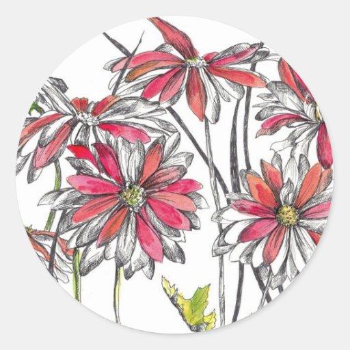 La margarita pintada florece el dibujo botánico de pegatinas redondas