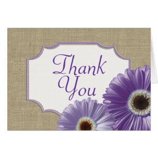 La margarita púrpura del Gerbera le agradece Tarjeta Pequeña