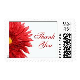 La margarita roja le agradece sella timbre postal