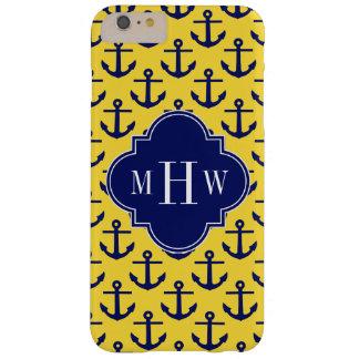 La marina de guerra ancla la piña BG, monograma Funda De iPhone 6 Plus Barely There