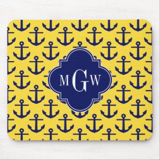 La marina de guerra ancla la piña BG, monograma Mouse Pads