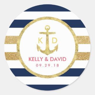 La marina de guerra del ancla del oro raya favor pegatina redonda