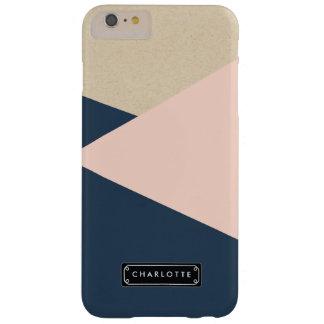 La marina de guerra geométrica y se ruboriza rosa funda barely there iPhone 6 plus