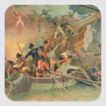La marina de guerra inglesa que conquista una nave pegatina cuadrada