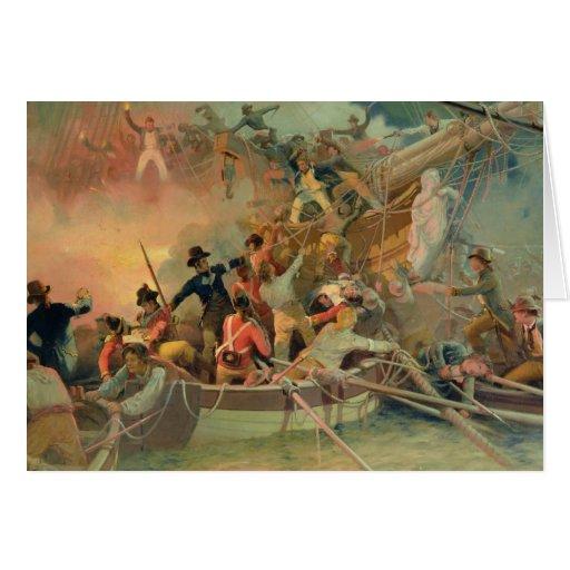 La marina de guerra inglesa que conquista una nave tarjeta de felicitación