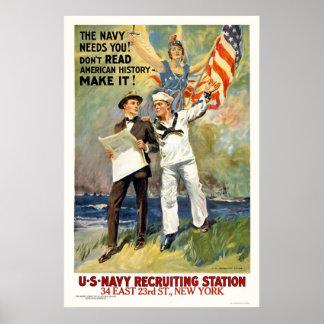 ¡La marina de guerra le necesita! ¡No lea la histo Póster