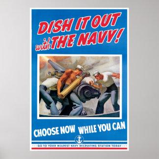 La marina de guerra, lo sirve hacia fuera póster