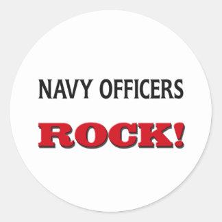 La marina de guerra manda la roca pegatinas redondas