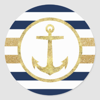 La marina de guerra náutica del ancla del oro raya pegatina redonda