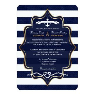 "La marina de guerra náutica, FALSA arpillera raya Invitación 5"" X 7"""