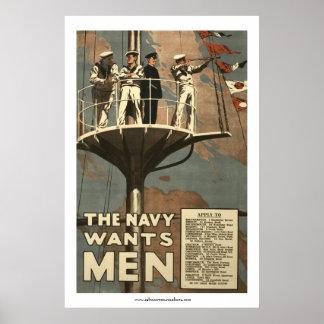 La marina de guerra quiere a hombres poster