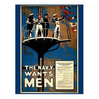 La marina de guerra quiere a hombres tarjeta postal