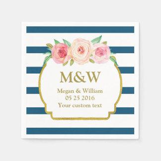 La marina de guerra raya servilletas florales servilletas de papel