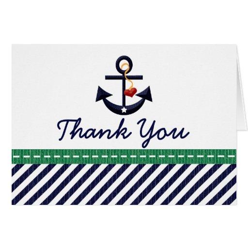 La marina de guerra y el ancla náutica del verde l tarjetas