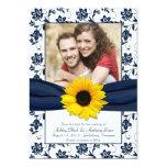 La marina de guerra y el damasco floral blanco invitaciones personalizada