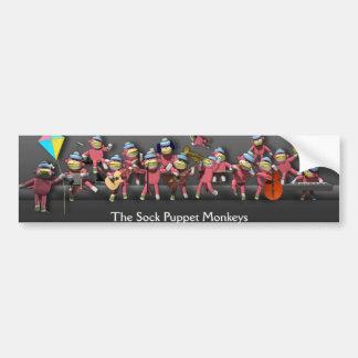La marioneta del calcetín Monkeys al pegatina Pegatina Para Auto