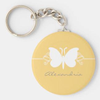 La mariposa amarilla suave remolina llavero