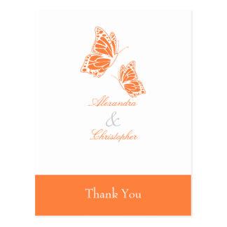La mariposa anaranjada simple le agradece postal