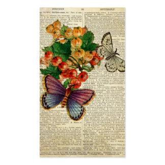 La mariposa azul con rojo florece arte del vintage tarjetas de visita