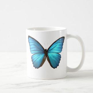 La mariposa azul de Morpho se va volando la taza