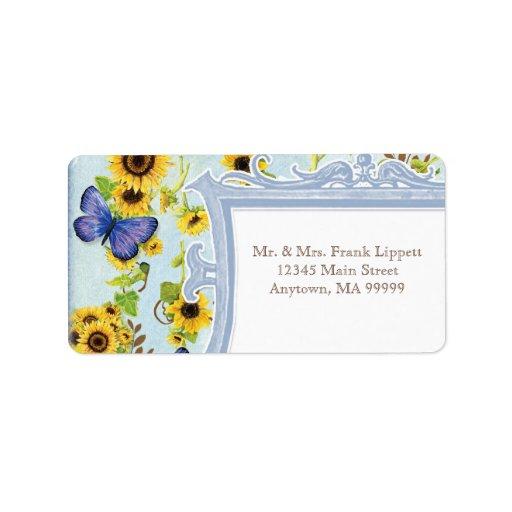 La mariposa azul del marco floral del remolino del etiqueta de dirección