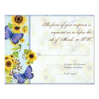 La mariposa azul del marco floral del remolino del comunicados personales