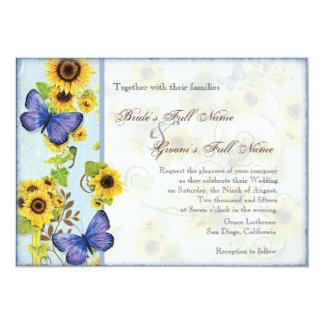 """La mariposa azul del marco floral del remolino del invitación 5"""" x 7"""""""