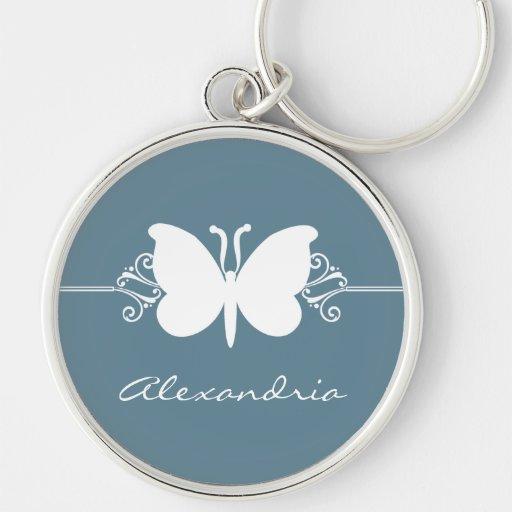 La mariposa azul descolorada remolina llavero supe