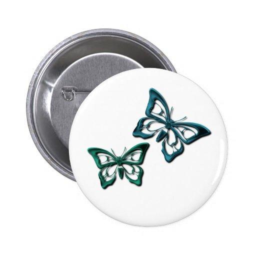 La mariposa azul diseña el botón pin