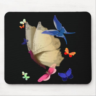 La mariposa beige grande Mousepad Tapetes De Ratón