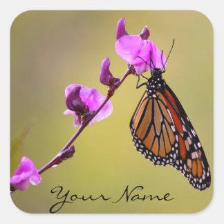 La mariposa besa el *personalize* de los pegatinas pegatina cuadrada