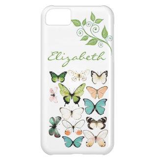 La mariposa besa la caja del teléfono del iPhone 5
