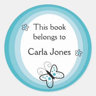 La mariposa Bookplates-Este libro pertenece a las Pegatina Redonda