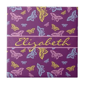 La mariposa colorida personaliza el modelo azulejo cuadrado pequeño