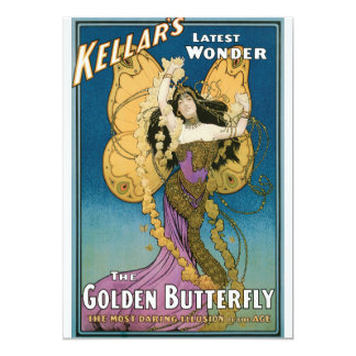 """La mariposa de oro de Kellar del vintage Invitación 5"""" X 7"""""""