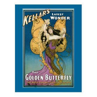 La mariposa de oro de Kellar del vintage Tarjetas Postales