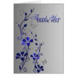 La mariposa de plata azul floral le agradece tarje felicitación