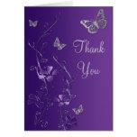 La mariposa de plata púrpura floral le agradece ta tarjeton