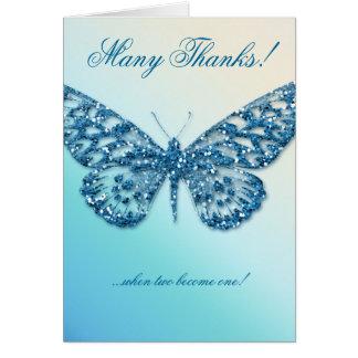 La mariposa del boda le agradece cardar el azul tarjeta