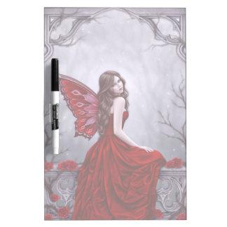 La mariposa del rosa de invierno de hadas seca al pizarras blancas