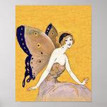 La mariposa del vintage se va volando el pelo rubi impresiones