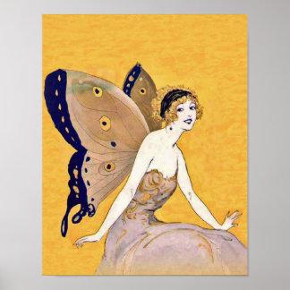 La mariposa del vintage se va volando el pelo rubi póster