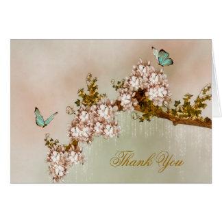 La mariposa elegante le agradece cardar tarjeta pequeña